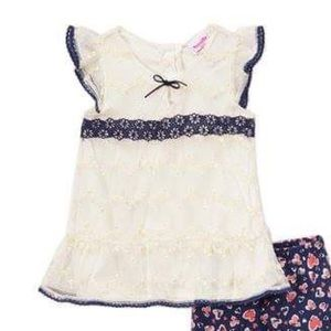 Nannette Matching Sets - Nannette Lace Angel-Sleeve Tunic & Heart Leggings